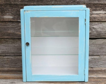 Vintage Turquoise Blue Medicine Cabinet, Apothecary Medical Dental Cabinet,  Countertop Display Case, Famhouse
