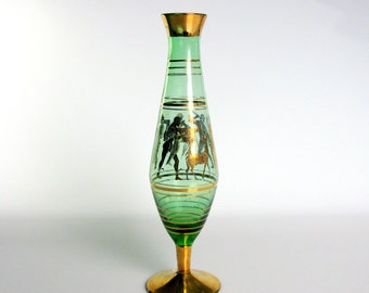 "Mid Century / Czech Bohemian Glass Vase / Hand Blown Glass / Greek Design / Green & Gold / 24K Gold / Art Deco / Footed Vase / 9 1/2"" Tall"