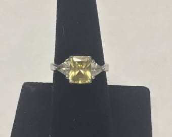 Beautiful Sterling Silver Canary Cubic Zirconia Three Stone Engagement Ring