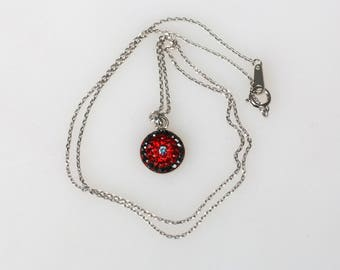 Round Pave Pendant, Sterling Silver Chain, Red Gradational Pattern, Tiny Swarovski Crystals, Polymer Glue, Unique Korean Style