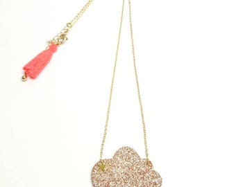 "Necklace ""Glittery gold cloud"""