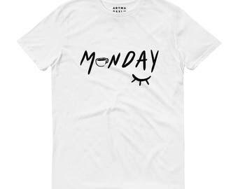 Monday T-shirt. Unisex. 100% organic cotton. t-shirt printed on Monday morning, coffee illustration, drawing, summer, artmarsco, lucy, eye