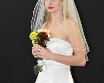 "30"" Elbow Length Wedding Veil with Satin Cord Edge"