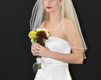 """30"""" Elbow Length Wedding Veil with Satin Cord Edge"""