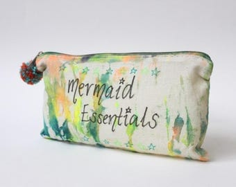 Mermaid Essentials |Travel gift|Tie Dye Toiletry Zip Bag|Quote|Inspirational|Hippie Gift|Travel Gift|Birthday Gift|Christmas Gift