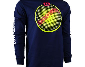 Softball Dots Long Sleeve Softball T-shirt, Softball Shirts, Softball Gift - Free Shipping!