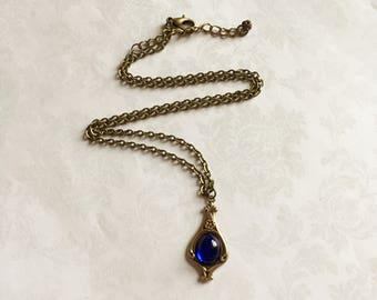 Sapphire Drop Necklace, Sapphire Necklace, Sapphire Jewelry, Art Nouveau Jewelry, Art Nouveau Necklace, Art Nouveau Pendant