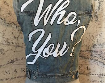 XS Hand Painted, Studded Denim Punk Vest with Writing on Back Size Extra Small