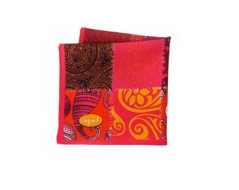 Pink Indian wool pocket square