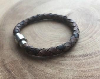Wrap Leather Bracelet, Men's Jewelry, Boyfriend gift, Brown leather bracelet, Leather cuff bracelet, Wristband , Braided Genuine leather
