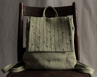 Women's canvas backpack women's canvas bag embroidered linen bag women's waterproof bag mini backpack small backpack olive backpack