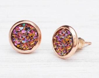 Rose gold druzy, faux druzy quartz, rose gold earrings, druzy jewellery, druzy crystal, faux quartz earrings, prom earrings, jewellery gift