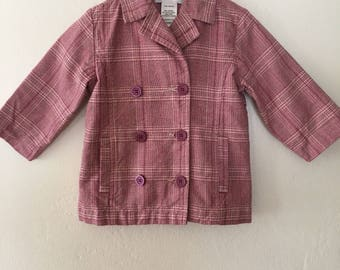 Vintage Toddler Girls * Little Girls * Red Pink White Plaid Jacket * Plaid Coat with Pockets 18 Months