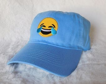 Laughing Emoji Baseball Hat, Laughing Emoji Dad Hat, Emoji Baseball Hat, Emoji Dad Hat, Laugh Until Crying Emoji Hat, Emoji Patch Dad Hat
