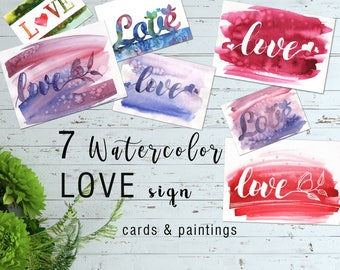 Watercolor Love Cards Painting Handmade Illustration Valentines Day Clipart Printable Gift  For Him Wall Home Decor Art Love Sign Cards