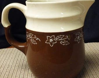 Brown/white batter pitcher made by Oxford Stoneware in USA in 1940s