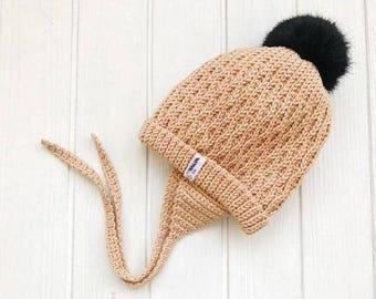 Beige Baby merino hat Organic baby clothes Baby reveal box Organic newborn hat Knit earflap hat Merino wool baby hat Woolen hat Crochet ear