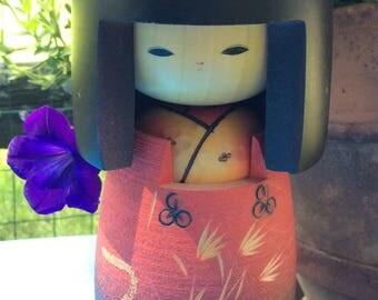 Vintage Japanese Geisha Girl - Kokeshi Doll - Wood Doll - Japanese Collectibles