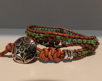 Double Leather Wrap Bead Bracelet