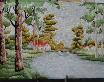 "Vintage 1970s Japanese Bunka Shishu Lakeside Scene 21.25"" by 12"" With Houses Trees Bridge   1684"