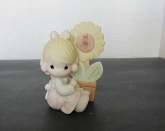 Vintage 1988 Precious Moments Bisque Figurine E-0008 A Growing Love 2614