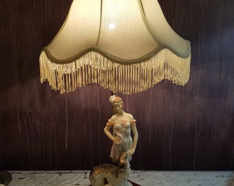 1 of 2 Vintage OK Collection Porcelain Lady and Dog Lamps with Original Silk shades