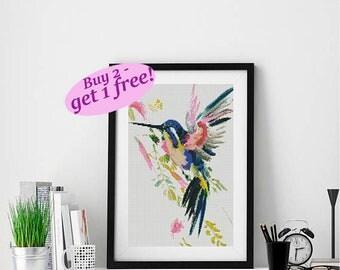 Hummingbird cross stitch pattern, modern bird colorful bright PDF pattern, buy 2 get 1 free, watercolor bird counted cross stitch