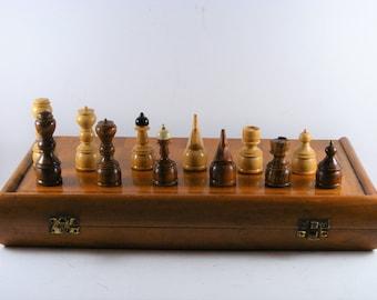 Vintage Wooden Chess Complete Set  39 X 39 cm