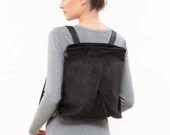 Backpack purse, Student backpack, Black backpack purse, Black fabric backpack, Student rucksack, Womens backpack, Womens student bag