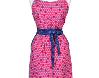 Womens Retro Apron in Nautical Blue and Red Full Bib Kitchen Apron with Two Lined Side Pocket (CS)