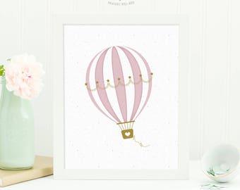 Hot Air Balloon Print, Baby Girl Nursery Art, Printable Nursery Wall Art, Kids Wall Art, Nursery Print Digital Download, Baby Shower Gift