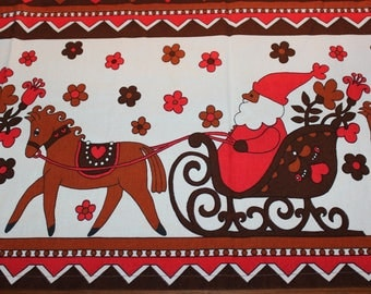 Really cute vintage retro 60s Christmas Curtain Valance with Santa sleigh rides.  Made in Sweden, Scandinavian