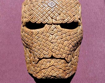 "Mask ""Thurs"" from ash-wood from the North Scandinavian mythology"