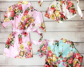 Kid's Satin Robes, Girl's Floral Robes, Easter Basket Filler, Toddler Girl Gift, Wedding Robe For Children