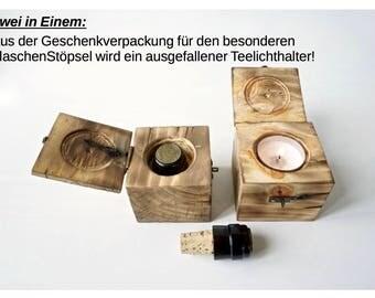 Bottle corks in wood box / tea light holder