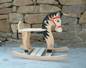 Wooden rocking horse Handcrafted and hand painted wooden toy Ride wooden horse toy