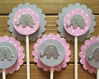 12 Elephant Cupcake Toppers, Elephant Cake Topper, Elephant Baby Shower, Elephant decoration, elephant party decoration, It's a girl