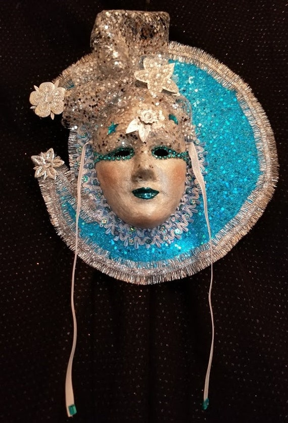 """Handcrafted, One of a Kind, Original, Venetian Style Mask, """"Moon Goddess"""" is a Paper Mache Mask made by Maskweaver, Soraya Ahmed in Florida"""