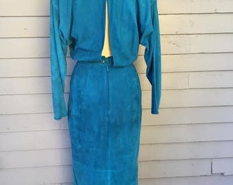 Slouchy Suede Dress Long Sleeve Open Back or Front | Reversible | Leather Dress | 1980s | Barthe | Rocker | Sexy |  Hollywood Glamour
