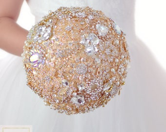 Gold Wedding Bouquet Crystal Jewelry Bouquet Ivory Bouquet Bridal Bouquet Wedding Decor Brooch Bouquet Keepsake Bouquet Rose Gold Bouquet