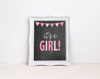 "Its A Girl Gender Reveal Announcement Sign || 8""x10"" Printable Chalkboard Pregnancy Announcement, Maternity Photo Prop (DIGITAL PRODUCT)"