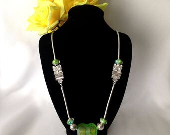 Platinum Tone Necklace and Bracelet Set with Marbled Green Yellow European Style Beads
