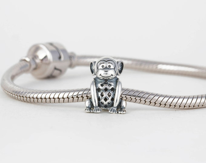 Naughty Monkey Charm, Silver Jewellery Gifts, Animal Charm for Bracelet, Birthday Gift for Her, Girls Necklace Charm