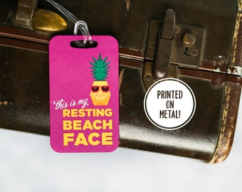 Beach - Luggage Tag - Best Friend Gift - Travel Gift - Pun - Funny Gift - Resting Beach Face