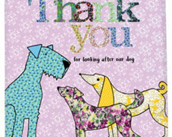 Thank you for looking after our dog tea towel, cotton dog dish towel, cute kitchen towel, dog's kitchen, gift as thank you by MollyMac.