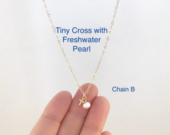 Tiny Gold Cross, Freshwater Pearl, Cross and Pearl, 14K Gold Filled, Dainty Cross Necklace, Religious Jewelry, Baptism Gift, Confirmation