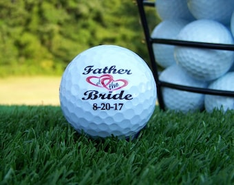 Father of the Bride Wedding Gift Personalized Golf Ball Set of 3, FAST SHIPPING!!