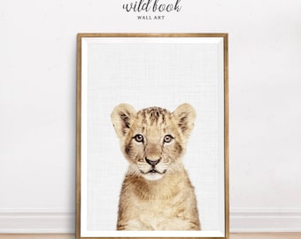 Lion Print, Baby Lion, Nursery Animal Print, Lion Portrait, Nursery Decor, Animal Nursery Art Decor,  Digital Prints, Instant Download
