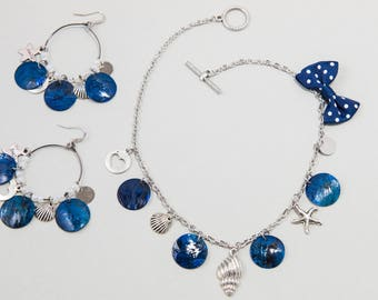 "Trendy Set Earrings and Necklace Crewneck 2 in 1 Charms and Mother of Pearl ""Marine"" Silver Blue and White"