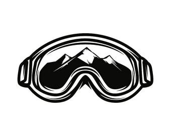 Snow Skiing Goggles #4 Equipment Snowboarding Mask Skier Ski Winter Extreme Sport .SVG .EPS .PNG Clipart Vector Cricut Cut Cutting Download